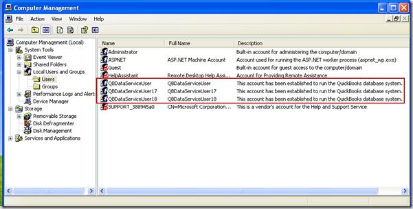 QuickBooks QBDataServiceUser