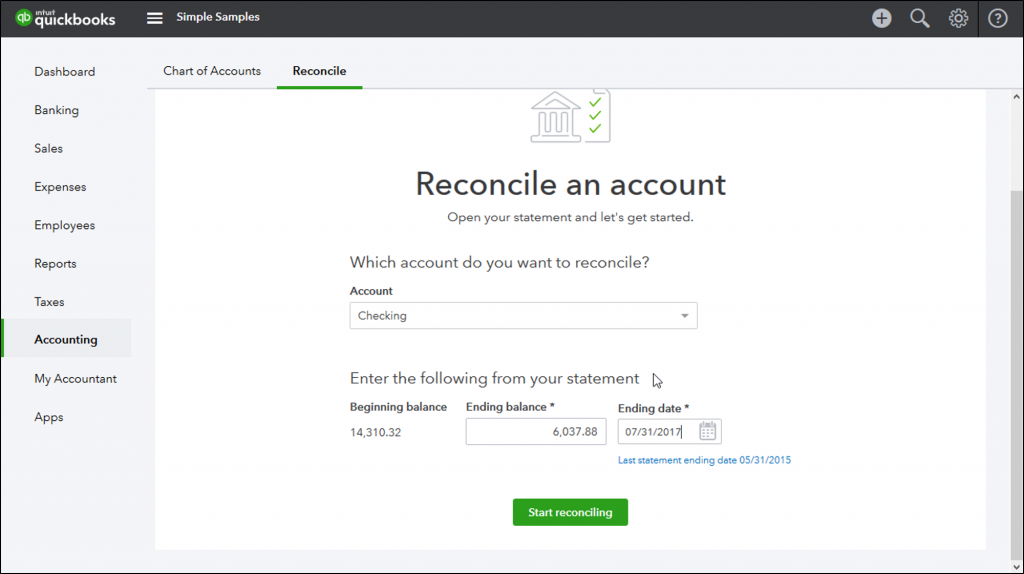Reconcile Bank account in QuickBooks Online