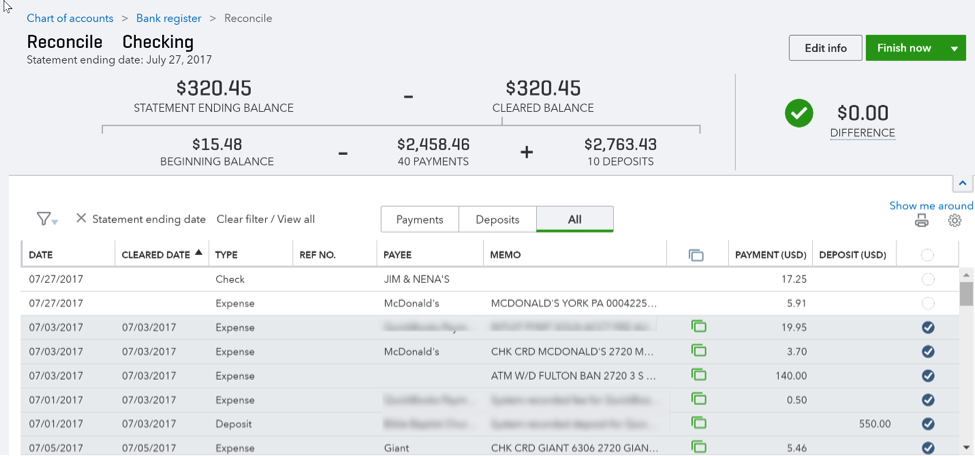 Reconcile Checking Window in QuickBooks