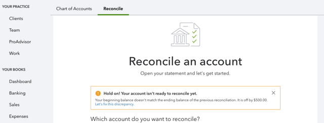 Reconcile account with QuickBooks Online