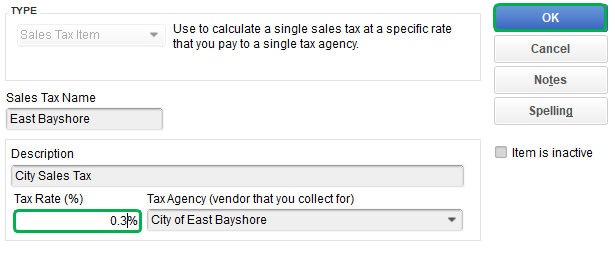 how to change sales tax rate in quickbooks