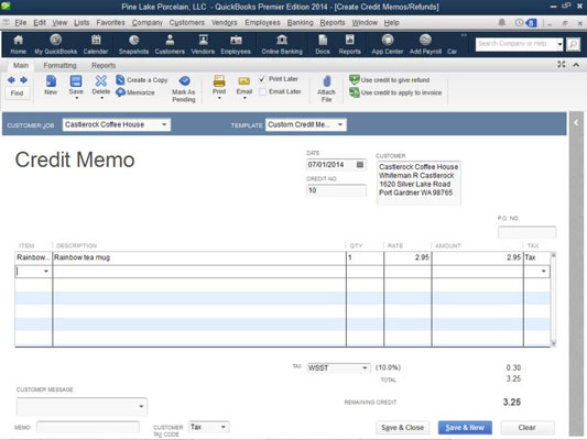 create a credit memo in QuickBooks