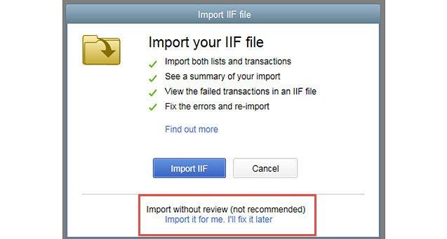 QuickBooks IIF File