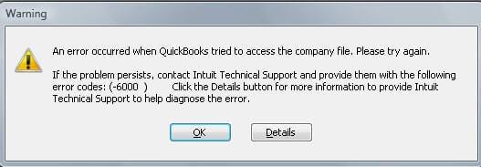 QuickBooks Error 6000 message