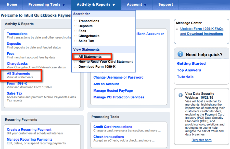 Intuit QuickBooks Merchant Services