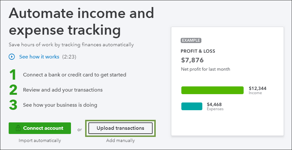 Manually Upload Transactions In QuickBooks Online