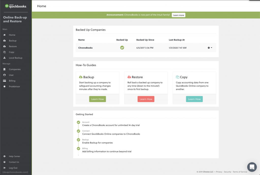 backup your QuickBooks Online Advanced company