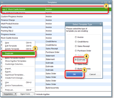 Create Duplicate Templates in QuickBooks