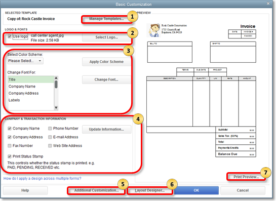 Customize Form Templates in QuickBooks