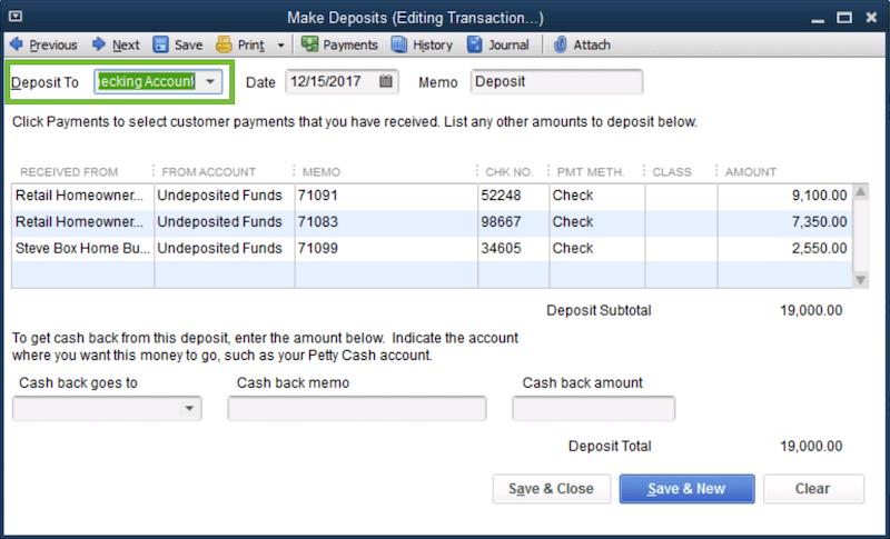 Record and Make Bank Deposits in QuickBooks Desktop