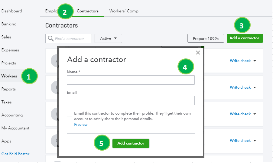 Set up and track contractors for 1099 in QuickBooks