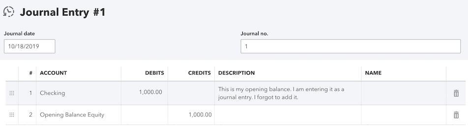 Did not enter an opening balance in QuickBooks Online