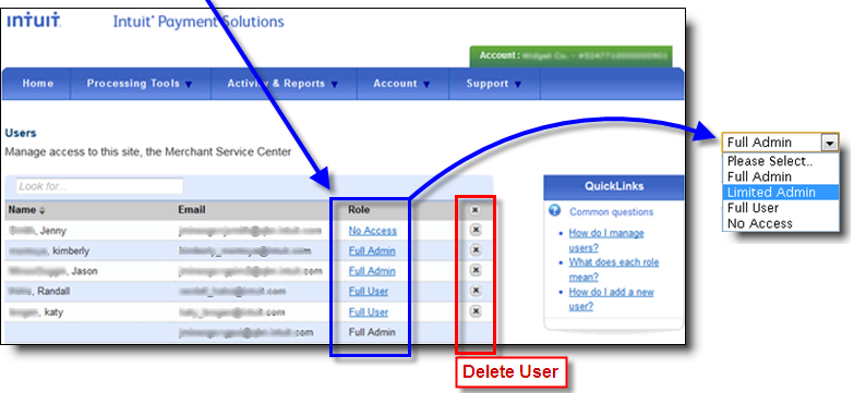 change user role in QuickBooks Payment