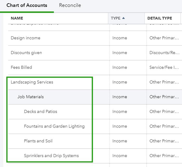 Create subaccounts in QuickBooks Online