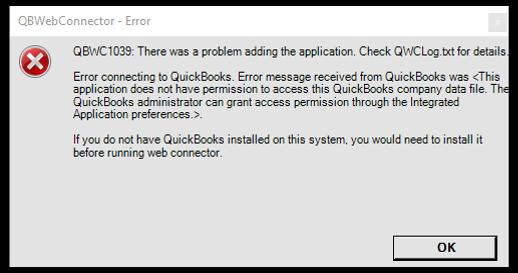 Error QBWC1039