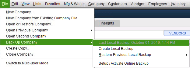 Adjust the backup settings screenshot (Back up your QuickBooks Desktop company file)