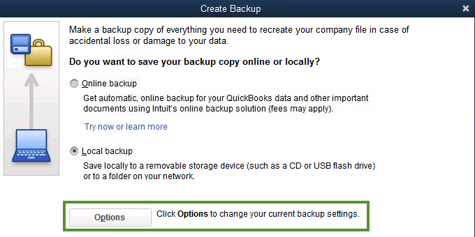 Change the backup preference screenshot 1 (Back up your QuickBooks Desktop company file)