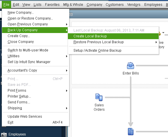 Create local back up your QuickBooks Desktop company file screenshot 1