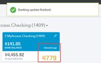 Running a manual update (fix bank upload errors in QuickBooks online)