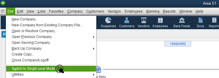 Switch to single user mode screenshot 1 (Back up your QuickBooks Desktop company file)