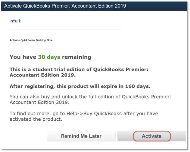 activate QuickBooks Premier