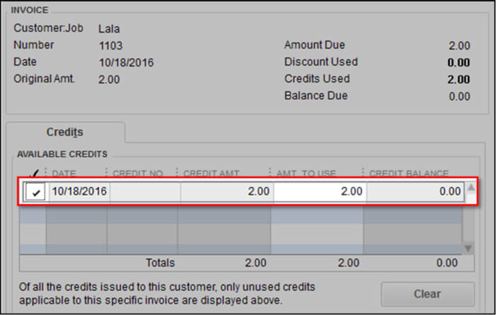 Available credit in QuickBooks