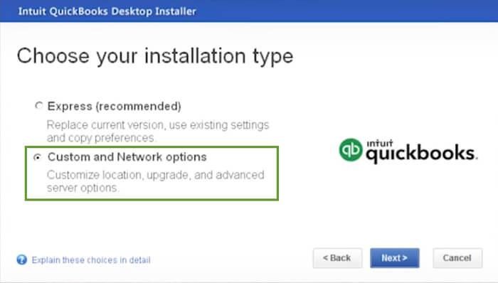 Choose Installation Type in QB Pro