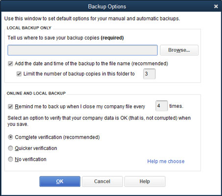 Choose backup location in Quickbooks