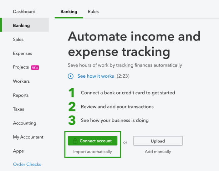 Connect Bank and Credit Card Accounts to QuickBooks Online