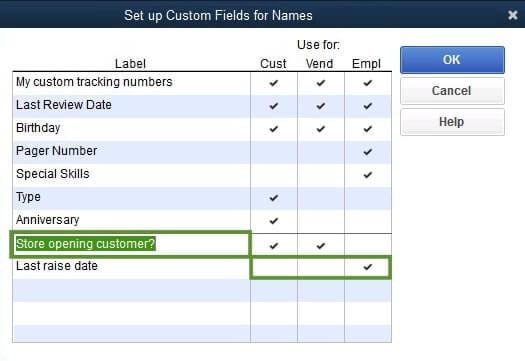 Create a custom field in QuickBooks Desktop