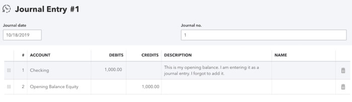 Create a journal entry for opening balance in QuickBooks Online