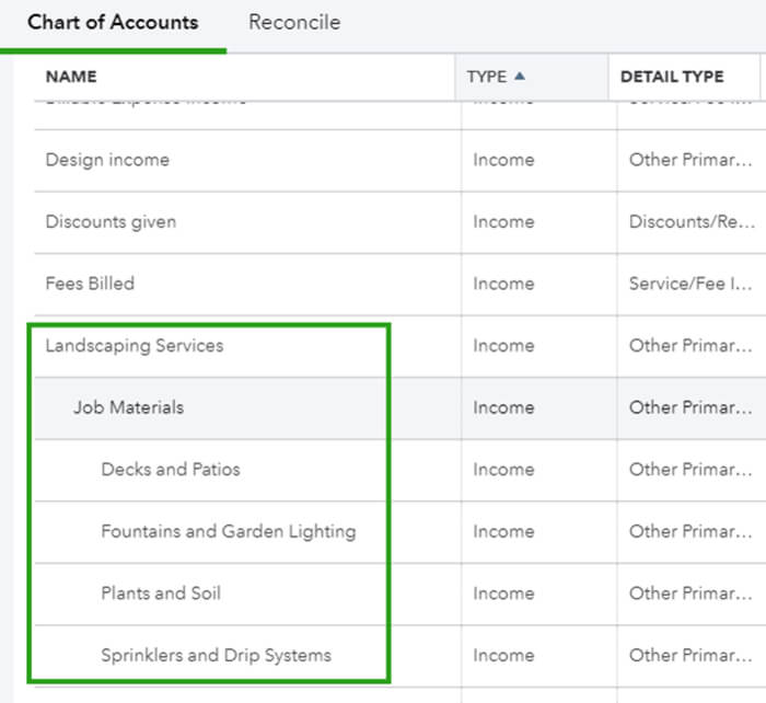 How to create subaccounts in QuickBooks Online using Chart of Accounts 1