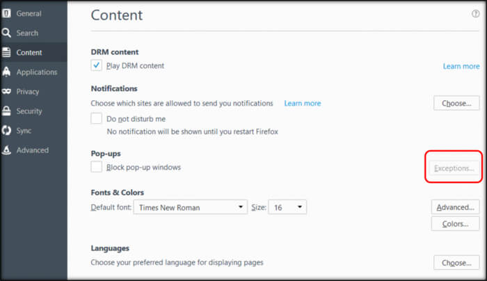 Enable Pop-ups for Mozilla Firefox in QBO