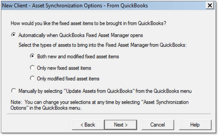 Fixed Asset Manager Client Asset Synchronization