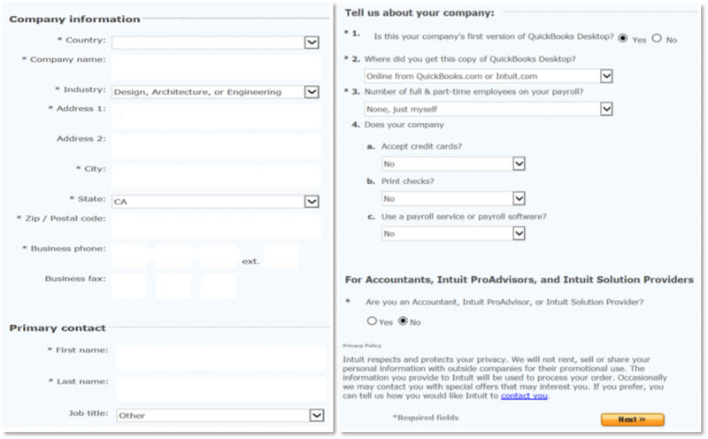 Form to Activate QuickBooks student trail account