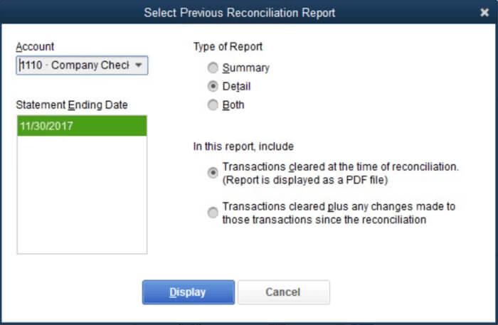 Run a Previous Reconciliation Report in QuickBooks Desktop