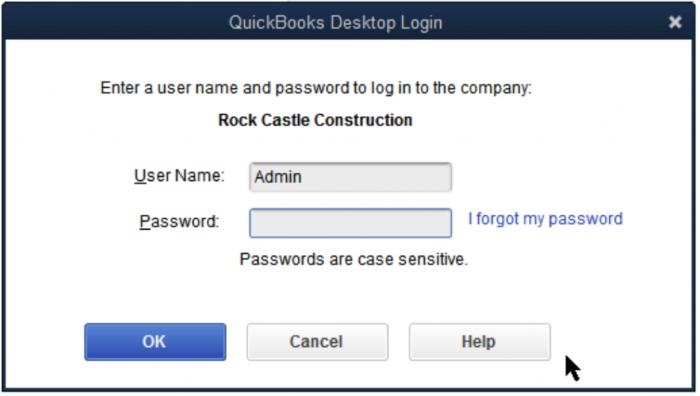 Password reset in QuickBooks Desktop