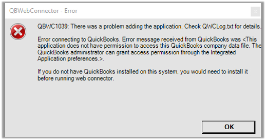 Problem to add application error message in QuickBooks