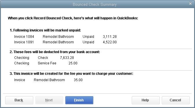 QuickBooks Desktop Bounced Check Summary