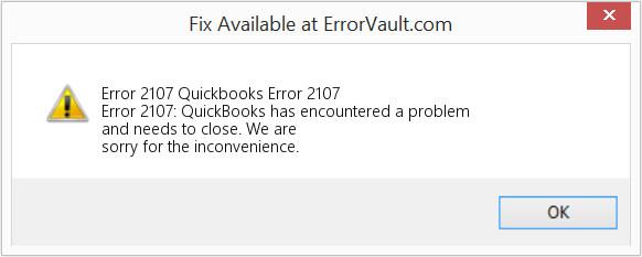 QuickBooks error 2107 message