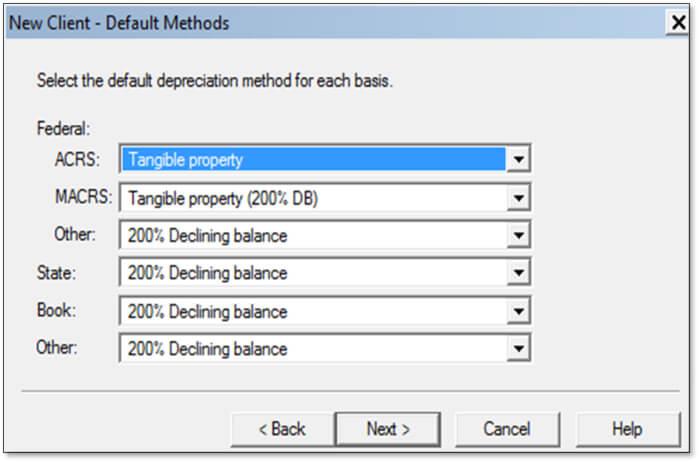 QuickBooks fixed asset manager - Client default