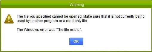 QuickBooks Specified File Error Message