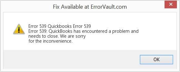 QuickBooks error 539 message