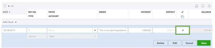 Reconcile a journal entry for opening balance in QuickBooks online