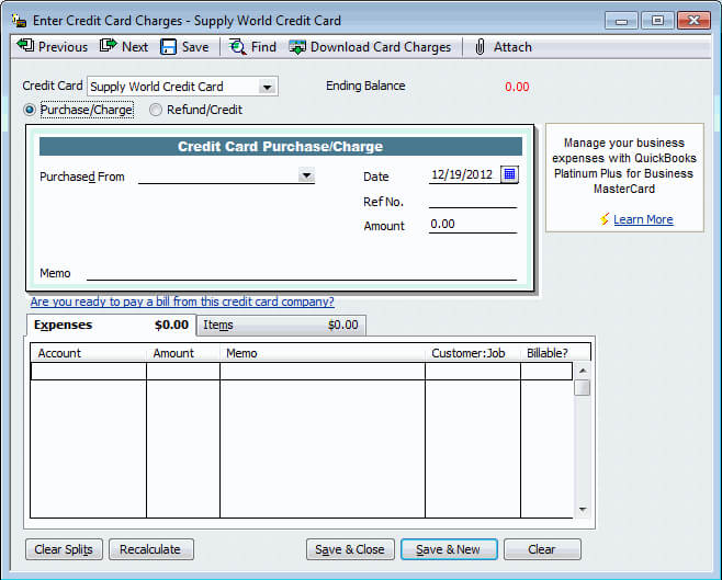 Record credit card payments in QuickBooks