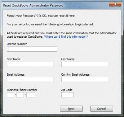 Reset QuickBooks Password