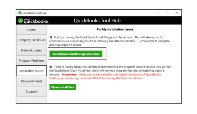 Run QuickBooks tool hub