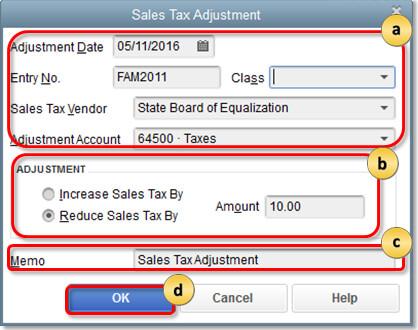 Sales tax Adjustment