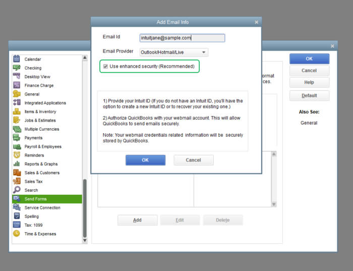Set up secure webmail in QuickBooks