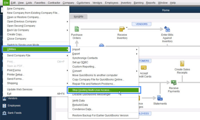 Stop hosting multi user access in QuickBooks
